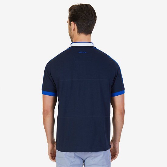 Classic Fit Short Sleeve Color Block Polo,True Navy,large