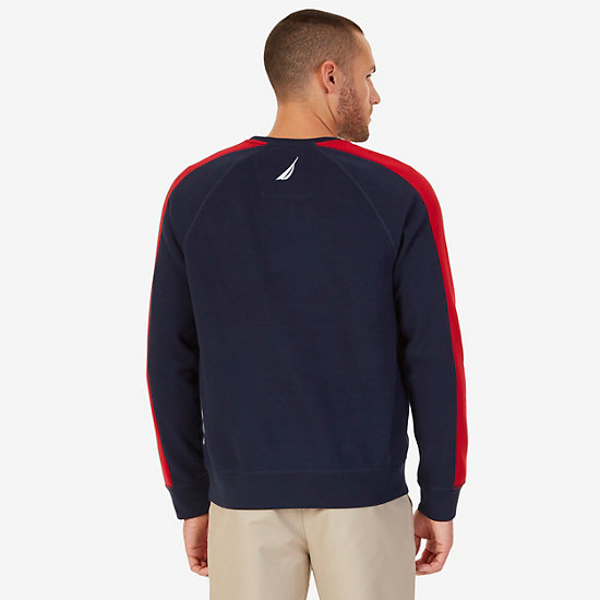Colorblock Raglan Pullover,Navy,large