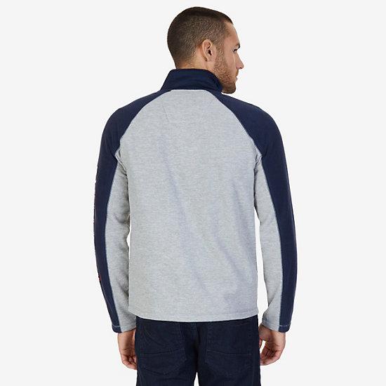 Nautex Fleece Logo Zip Jacket,Grey Heather,large