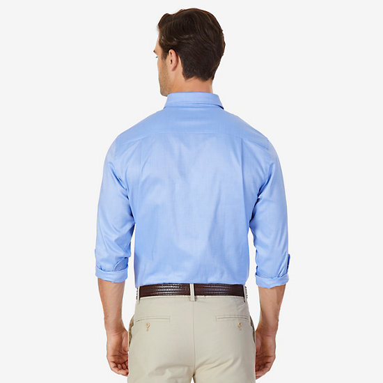 Classic Fit Solid Oxford Iron-Free Button Down,Silver Lake Blue,large