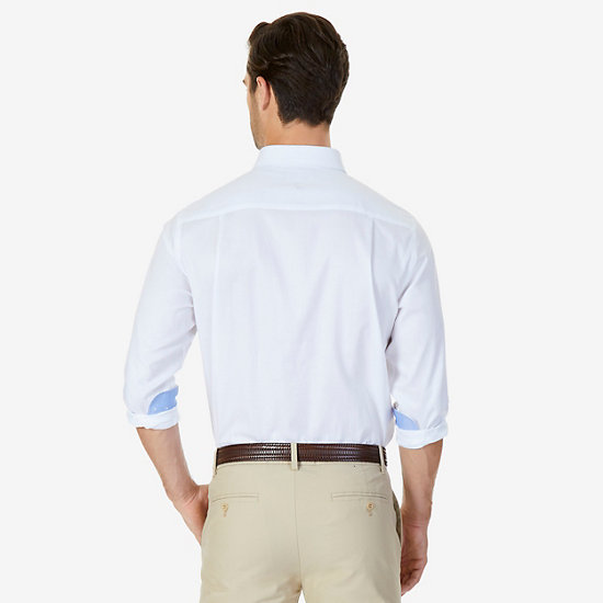 Iron-Free Solid Oxford Classic Fit Long Sleeve Shirt,Sand Dune,large
