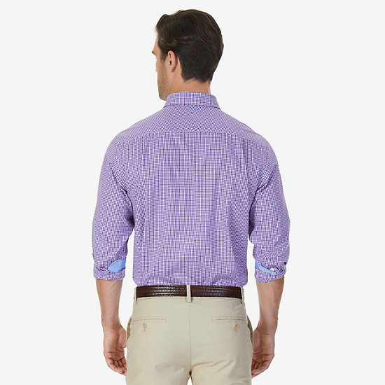 Wrinkle Resistant Classic Fit Gingham Dress Shirt,Loganberry Heather,large