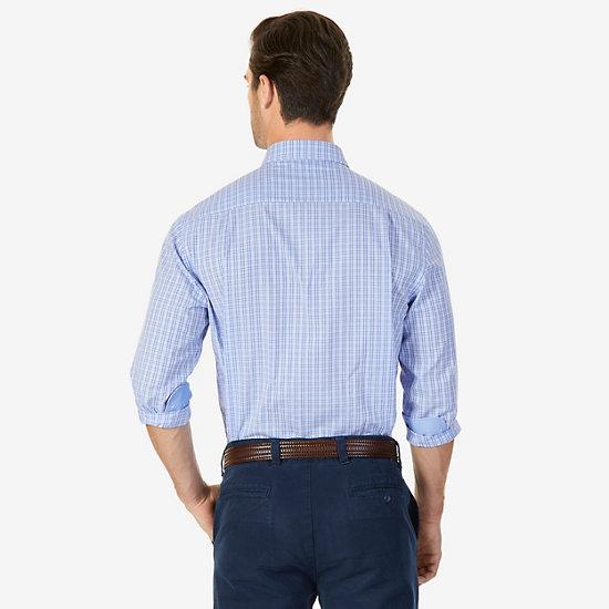 Plaid Wrinkle-Resistant Classic Fit Long Sleeve Shirt,Nautica Blue,large