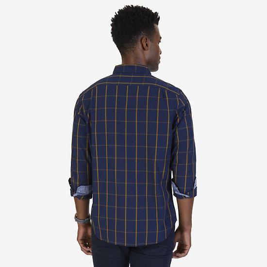 Big & Tall Classic Fit Windowpane Poplin Shirt,Peacoat,large