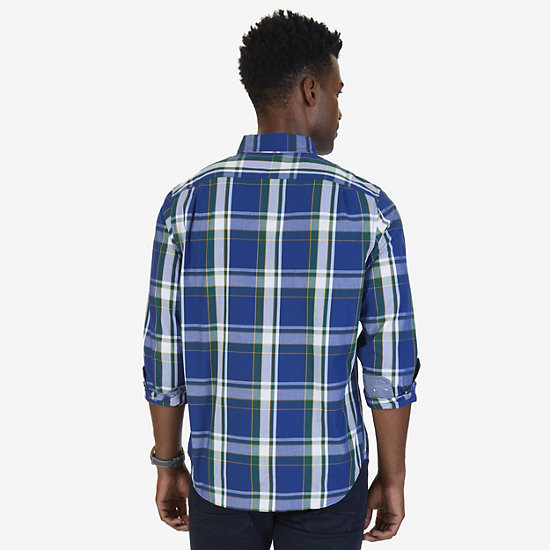 Big & Tall Long Sleeve Classic Fit Plaid Shirt,Estate Blue,large