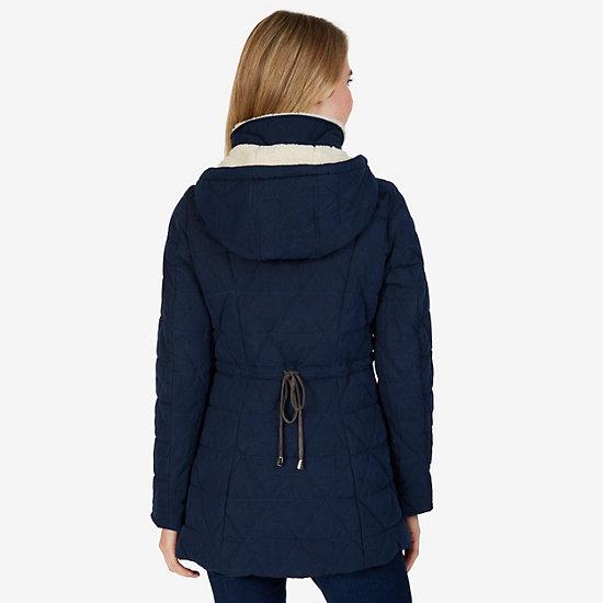 Sherpa Lined Microfiber Puffer Jacket,Dreamy Blue,large