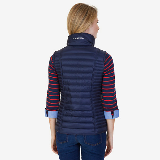 Quilted Down Reversible Puffer Vest,Dreamy Blue,large