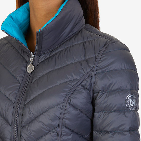 Reversible Down Puffer Jacket,Compass Blue,large