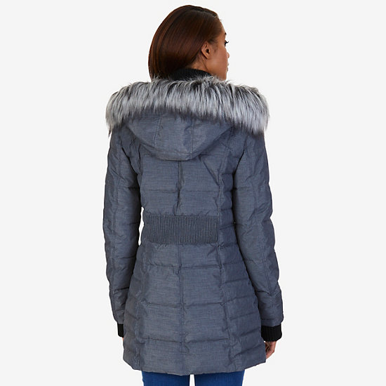 Chisel Faux Fur Hooded Puffer Coat,Ash Heather,large