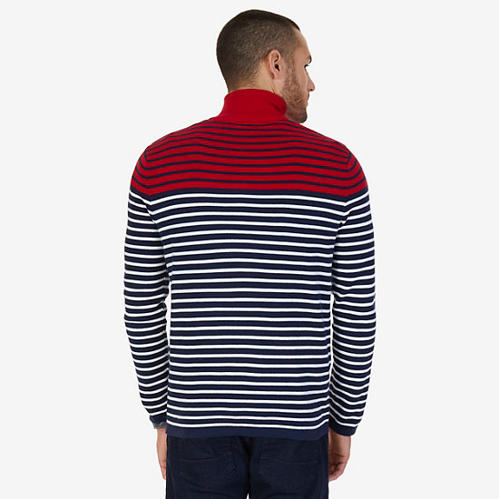 Striped Quarter Zip Pullover Sweater,Nautica Red,large