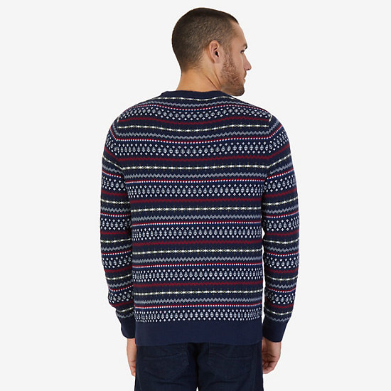 Fair Isle Crew Sweater,Navy,large