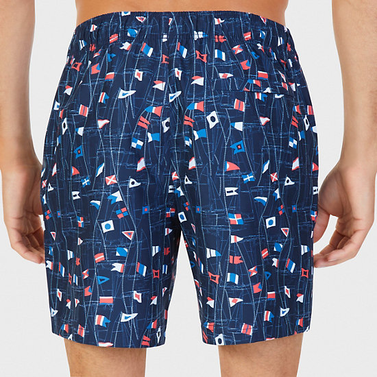 Quick Dry Sail Print Trunk,Navy,large