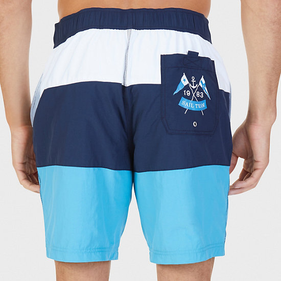 Quick Dry Colorblock Stripe Swim Trunk,Blue Moon,large