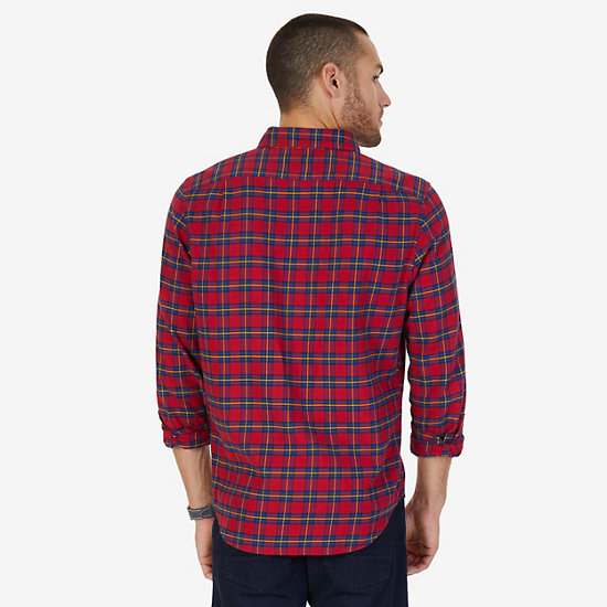 Classic Fit Plaid Flannel Shirt,Nautica Red,large