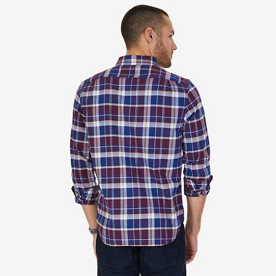 CLASSIC FIT  PLAID SHIRT,Royal Burgundy,large