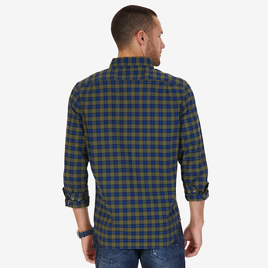 Coastal Plaid Flannel Classic Fit Button Down,Green Spruce,large