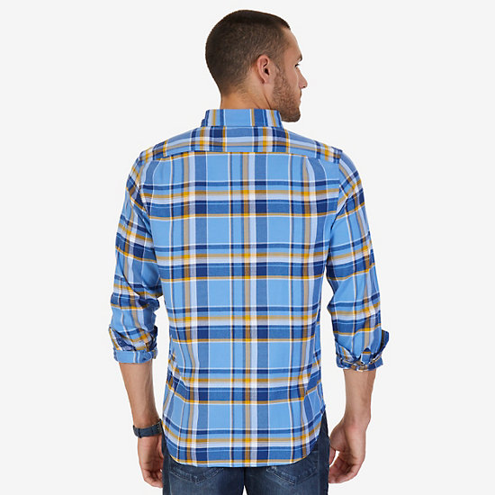Classic Fit Plaid Flannel Button-Down Shirt,Riviera Blue,large