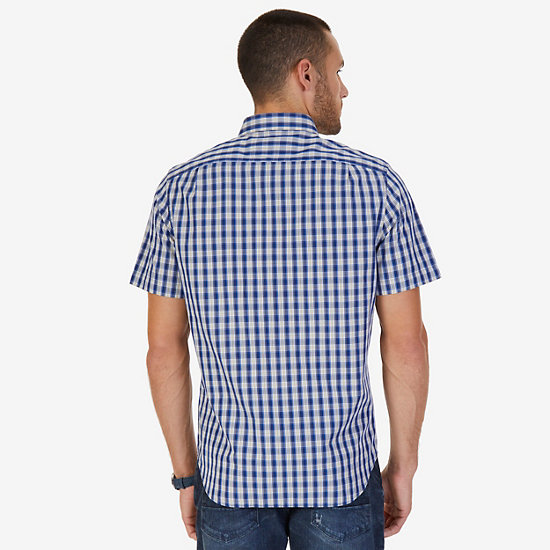 Classic Fit Checked Poplin Shirt,Bright White,large