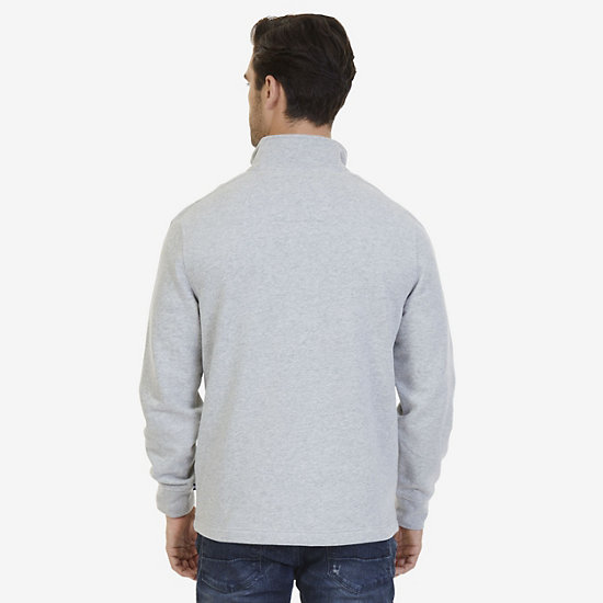Nautica Big & Tall Quarter Zip Pullover,Grey Heather,large