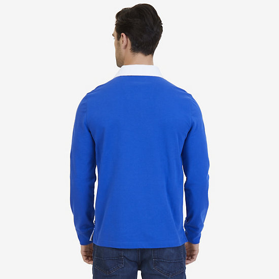 Nautica Big & Tall Heritage Logo Long Sleeve Polo Shirt,Bright Cobalt,large