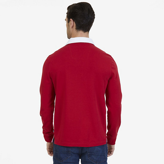 Nautica Big & Tall Heritage Chest Logo Long Sleeve Polo Shirt,Nautica Red,large