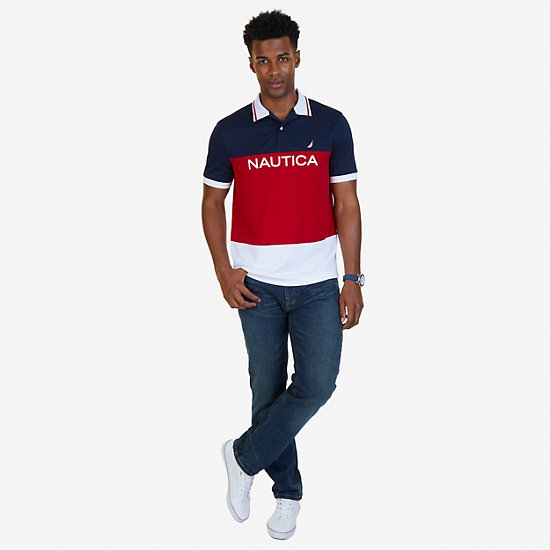 Classic Fit Color Block Wicking Polo Shirt,Nautica Red,large