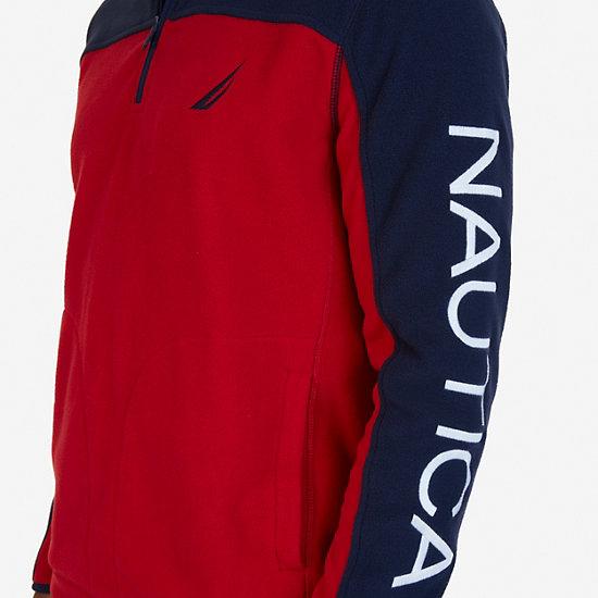 Quarter Zip Blocked Nautex Fleece,Nautica Red,large