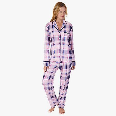Plaid Jersey Knit Pajama Set - Shipwreck Burgundy
