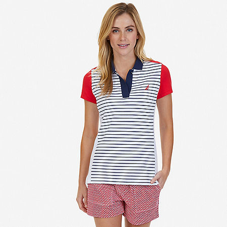 Striped Color Blocked Polo Shirt - Bright White