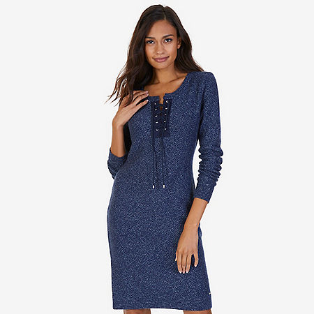 Lace-Up Sweater Dress - Admiral Blue