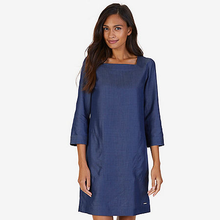 Square Neck Shift Dress - Washed Blue