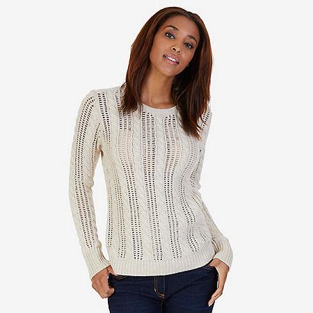 Open Stitch Cable Knit Sweater - Sand Drift