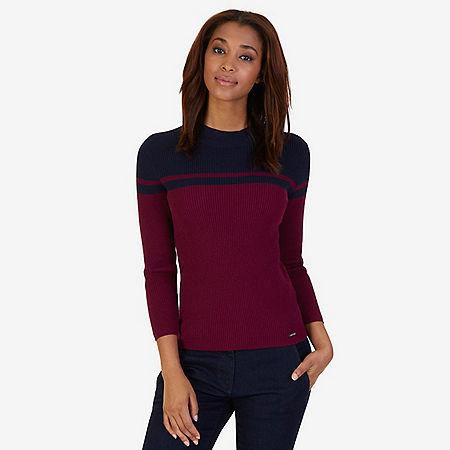 Color Block Mock Neck Sweater - Port Scarlet