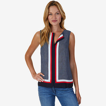 Printed Sleeveless Top - Tomales Red