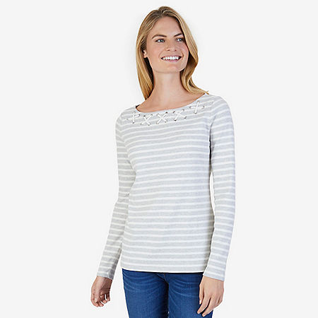 Striped Laced Neck Top - Grey