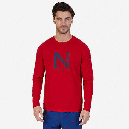Slim Fit Long Sleeve Logo Sleep T-Shirt - Nautica Red