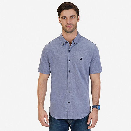 Classic Fit Solid Short Sleeve Shirt - Navy