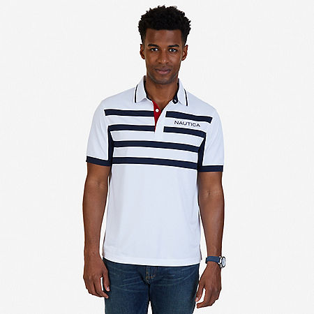 Classic Fit Chest Stripe Wicking Polo Shirt - Bright White
