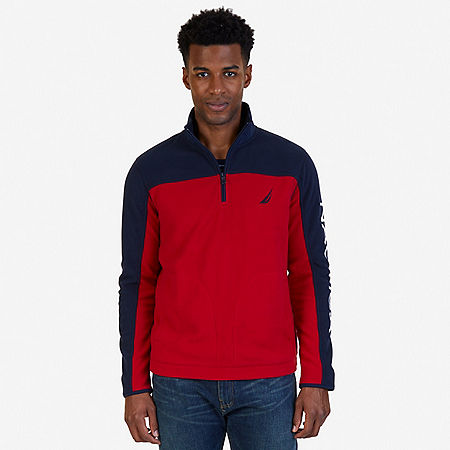Quarter Zip Blocked Nautex Fleece - Nautica Red