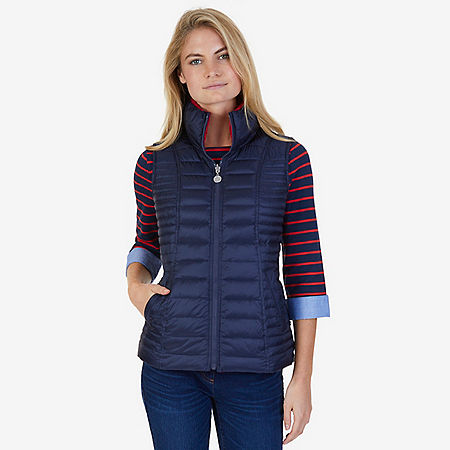 Quilted Down Reversible Puffer Vest - Dreamy Blue