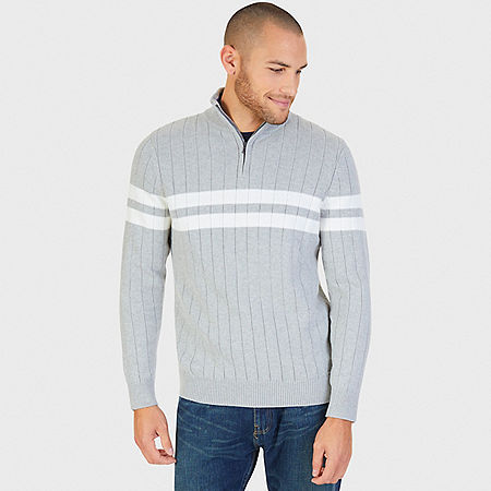 Double Stripe Ribbed Quarter Zip Sweater - Grey Heather