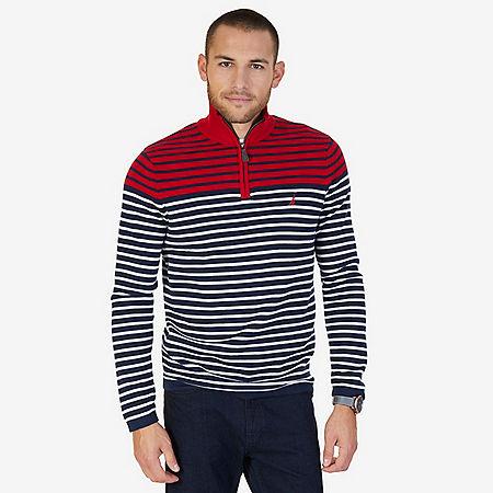 Striped Quarter Zip Pullover Sweater - Nautica Red