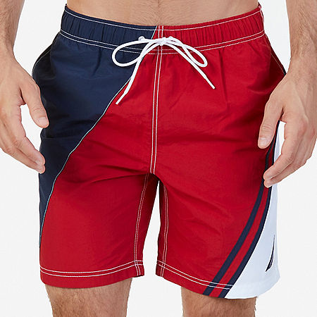 Quick Dry Diagonal Color Block Swim Trunk - Nautica Red