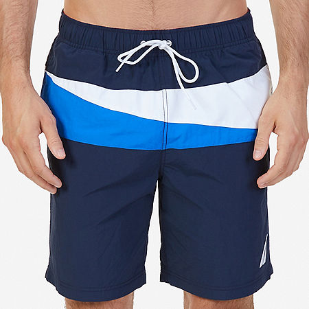 Quick Dry Sailing Flag Color Block Swim Trunk - Navy