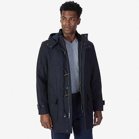 Hooded Toggle Coat - Charcoal