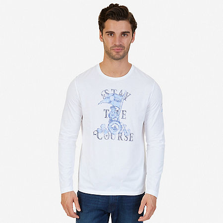 Stay the Course Graphic Long Sleeve T-Shirt - Bright White