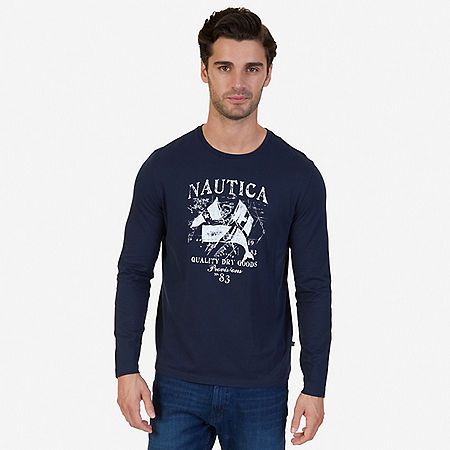 Quality Dry Goods Graphic Long Sleeve T-Shirt - True Navy