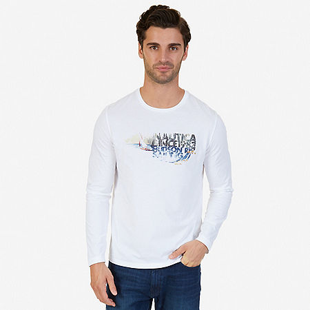 Hudson River Sailing Graphic Long Sleeve T-Shirt - Bright White