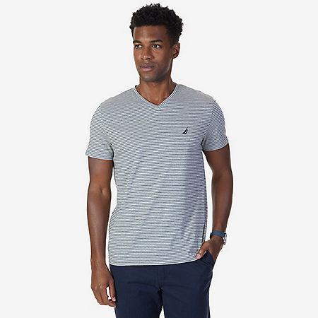 Striped V-Neck T-Shirt - Grey Heather