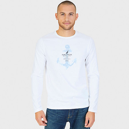 Watercolor Anchor Graphic Long Sleeve T-Shirt - Bright White